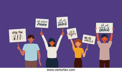 People protesting for human rights vector design