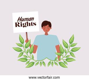 man protesting for human rights vector design