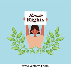 woman protesting for human rights vector design