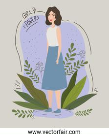 female girl power poster with leaves avatar character