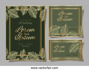 set of Wedding invitation cards vector design