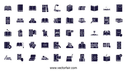 Isolated books silhouette style icon set vector design