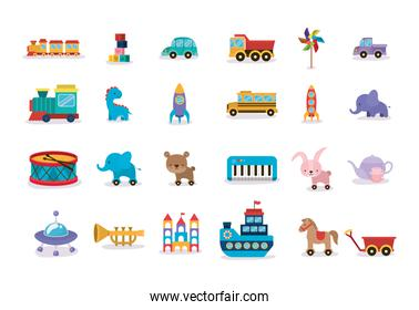 collection of toys children icons