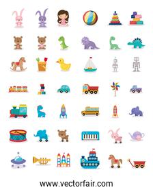 bundle of toys children icons