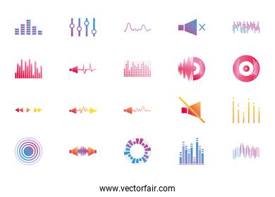 Isolated waves and music gradient style icon vector design