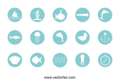 Isolated sea life block style icon set vector design