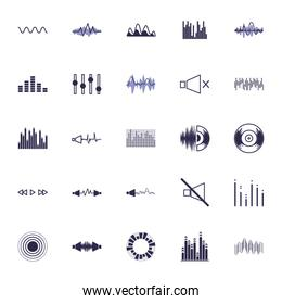 Isolated waves and music fill style icon vector design