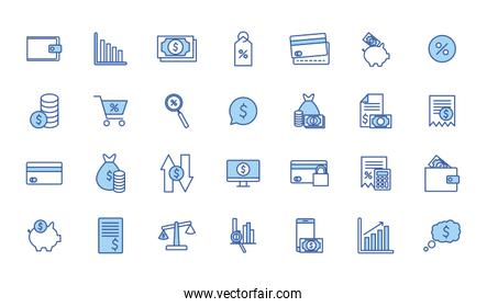 Isolated money line and fill style icon set vector design
