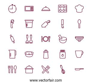 Isolated cook and kitchen line style icon set vector design