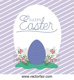 Happy easter egg with flowers over striped background vector design