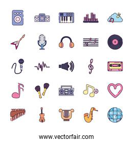 Isolated music fill style icon set vector design