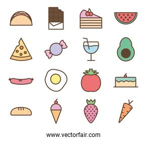 Isolated food line and fill style icon set vector design