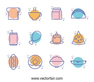 Isolated food block line style icon set vector design