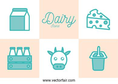 Isolated dairy dou color style icon set vector design