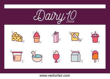 Isolated 10 dairy line and fill style icon set vector design
