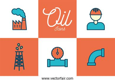 Isolated oil industry line and fill style icon set vector design