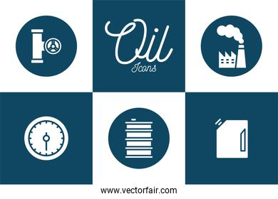 Isolated oil industry block and flat style icon set vector design