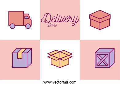 Isolated delivery line and fill style icon set vector design