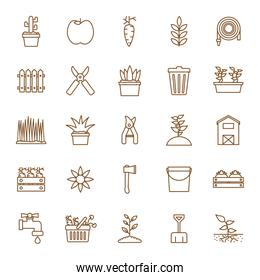 Isolated gardening line style icon set vector design