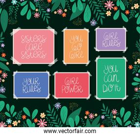 banners set with leaves and flowers vector design