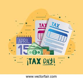 tax day documents calendar bills and coins vector design