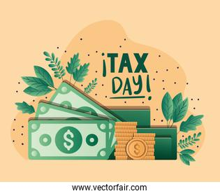 tax day bills coins and leaves vector design