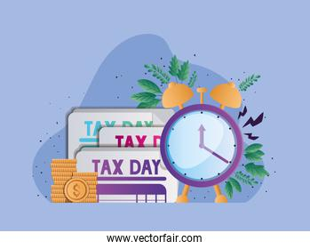 tax day documents clock coins and leaves vector design