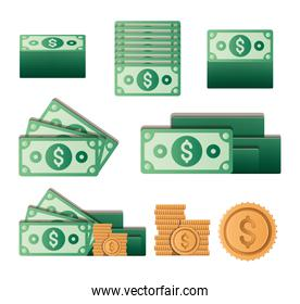 Isolated money coins and bills set vector design