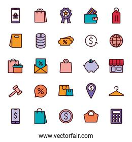 shopping line and fill style icon set vector design