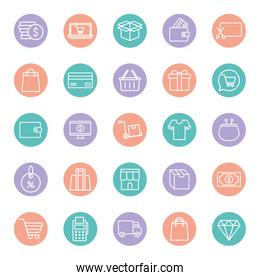 shopping line and block style icon set vector design