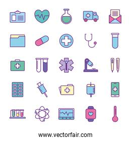 medical line and fill style icon set vector design