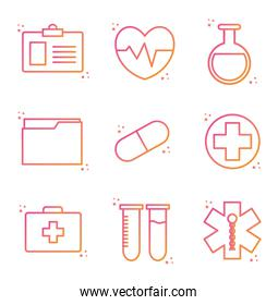 medical gradient style icon set vector design