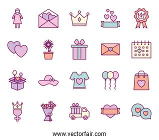 happy mothers day line and fill style icon set vector design