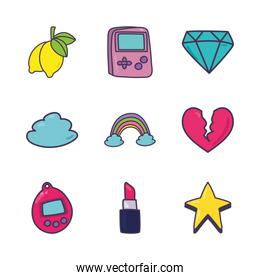 Isolated 90s and retro line and fill style icon set vector design