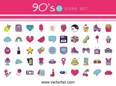 Isolated 50 90s and retro line and fill style icon set vector design