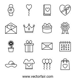 happy mothers day line style icon set vector design
