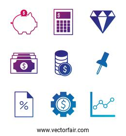 Isolated money gradient style icon set vector design