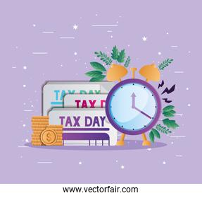 tax documents coins and clock vector design