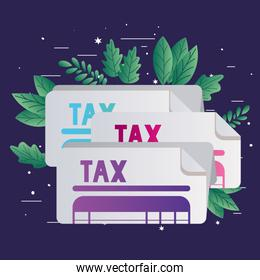 tax documents and leaves vector design