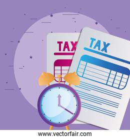 tax documents and clock vector design