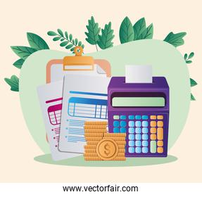 tax documents coins and calculator vector illustration