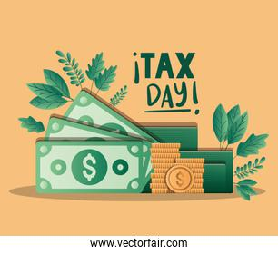 tax day bills and coins vector design