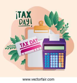 tax day document and calculator vector design