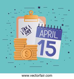tax day calendar document and coins vector design