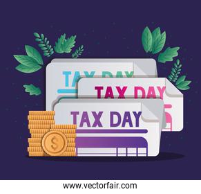 tax documents coins and leaves vector design