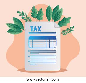 tax document and leaves vector design