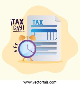 tax day document and clock vector design