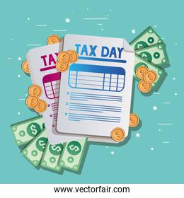 tax documents bills and coins vector design