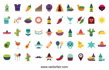 Mexican flat style icon set vector design