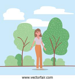 avatar woman trees shrubs and clouds vector design